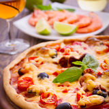 Pizza with seafood. Stock Photography