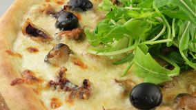 Pizza with seafood and mozzarella cheese stock video