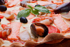 Pizza with seafood Stock Photo