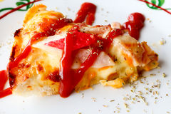pizza seafood with tomato sauce on the top. Royalty Free Stock Photos