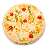 Pizza with seafood. Top view Stock Image