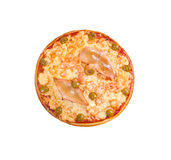 Pizza with seafoods. Isolated on white background.clipping Path Royalty Free Stock Image