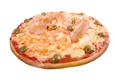Pizza with seafoods. Isolated on white background.clipping Path Royalty Free Stock Photos
