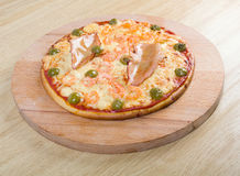 Pizza with seafoods. Close up . Shallow depth-of-field Stock Photography