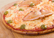Pizza with seafoods Stock Photos