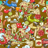 Pizza seamless background vector illustration Stock Image