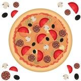 Pizza seamless pattern royalty free illustration