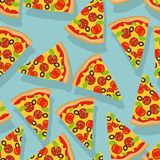 Pizza seamless pattern. Delicious slice of pizza background.  Royalty Free Stock Images