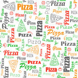 Pizza seamless pattern with doodles and text Stock Images