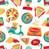 Pizza seamless pattern Stock Images