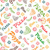 Pizza seamless pattern with hand drawn elements Royalty Free Stock Image