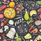 Pizza seamless pattern hand drawn sketch. Pizza Doodles Food background with flour and other food ingredients, oven and kitchen to stock illustration