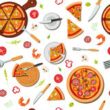 Pizza Seamless Pattern with Ingredients Stock Photography