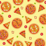 Pizza Seamless Pattern with Ingredients Royalty Free Stock Images