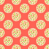 Pizza. Seamless pattern with italian pizzas. Hand Royalty Free Stock Photos