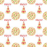 Pizza. Seamless pattern with italian pizzas. Hand Stock Images