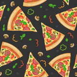 Pizza seamless pattern with slices Stock Images
