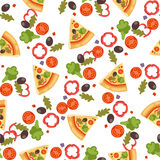Pizza seamless pattern vector illustration piece slice pizzeria food menu snack on white background ingredient deliver Royalty Free Stock Photo