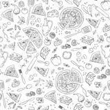 Pizza seamless pattern. Vector pizza pattern. Stock Image