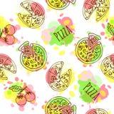 Pizza seamless pattern vector illustration