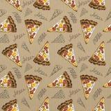 Pizza senza cuciture di carbonara dell'acquerello del modello su cartone royalty illustrazione gratis