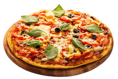 Pizza served on wooden plate isolated on white Royalty Free Stock Photos