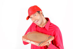 Pizza service. Pizza delivering man holding pizza-carton Royalty Free Stock Photos