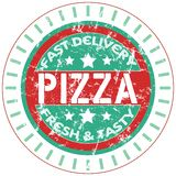 Pizza service stamp,. Vector illustration, scalable illustrator eps 10 foemat available Stock Photography
