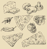 Pizza set Obrazy Royalty Free