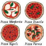 Pizza set hand drawn doodle graghic. Margherita, Diavola, Napoli, Parma Italian names lettering Royalty Free Stock Photos