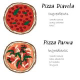 Pizza set hand drawn with ingredients doodle graghic. Pizza set hand drawn doodle graghic. Diavola, Parma Italian names lettering with list of ingredients Stock Image