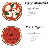 Pizza set hand drawn with ingredients doodle graghic. Pizza set hand drawn doodle graghic. Margherita, Napoli Italian names lettering with list of ingredients Stock Photography