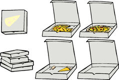 Pizza Set II. Cartoon illustrations of multiple isolated pizza related elements for any use. Release clipping masks for EPS version to use entire pizza elements Royalty Free Stock Photos