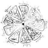 Pizza set - italian, mexican, margarita, cheese, pepperoni collection watercolor. Pizza set - italian, mexican, margarita, cheese, pepperoni collection hand draw stock illustration