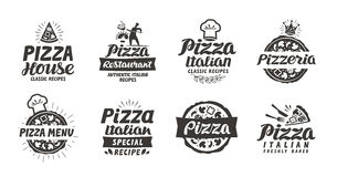 Pizza set logo, label, element. Pizzeria, restaurant, food icons. Vector illustration Stock Photos