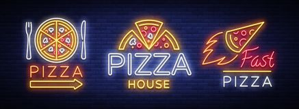 Pizza set of logos, emblems, neon signs. Collection. Of logos in neon style, bright neon sign advertising food Italian, Pizza, appetizer, cafe, bar and Vector Illustration
