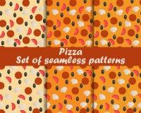Pizza Set nahtlose Muster Bestandteile für Pizza Das Muster für Tapete, Bettwäsche, Fliesen, Gewebe, Hintergründe lizenzfreie abbildung