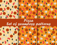 Pizza. Set of seamless patterns. Ingredients for pizza. The pattern for wallpaper, bed linen, tiles, fabrics, backgrounds. Royalty Free Stock Image