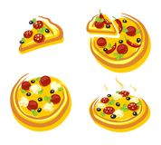 Pizza set. Vector Stock Image