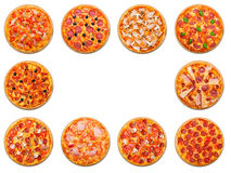 Pizza Set With Copyspace Isolated At White Stock Photo