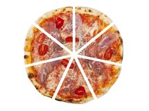 Seven pieces of pizza isolated Royalty Free Stock Images