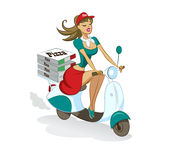 Pizza. Sexual girl. Scooter. Delivery Royalty Free Stock Images
