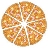 Pizza shrimp. Group of vector colorful illustrations on the pizza theme; pieces of shrimp pizza. Pictures contain realistic shadows and glare stock illustration