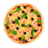Pizza with shrimp olives and arugula on a white background. Macro royalty free stock photo