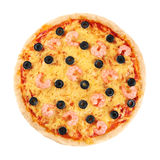 Pizza with shrimp and olives on a white background. Stock Images