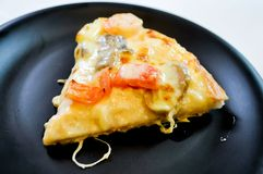 Pizza. Shrimp pizza recipe in the dish Royalty Free Stock Images