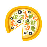 Pizza With Shrimps Missing One Slice Primitive Cartoon Icon, Part Of Pizza Cafe Series Of Clipart Illustrations Stock Image