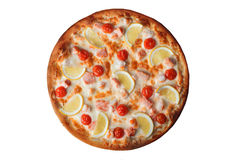 Pizza with shrimps and salmon, lemon, isolated on white background, top view, cherry tomatoes Stock Image