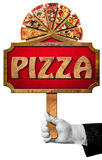 Pizza - Sign with Hand of Waiter Stock Photos