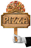Pizza - Sign with Hand of Waiter Stock Photography